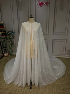 Sparkling ivory glitter wedding jacket cloak cape 2020