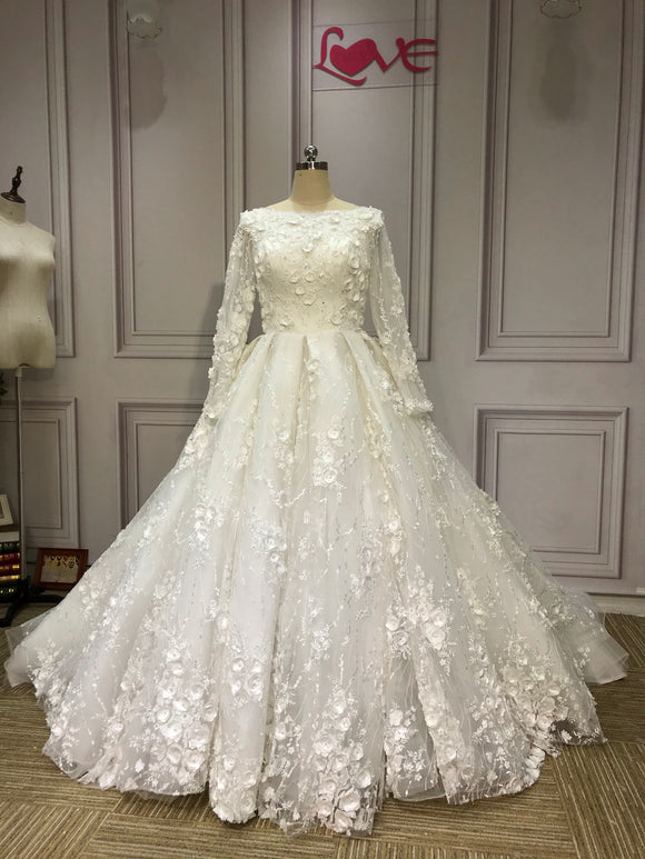 Long sleeves boat neckline 3D flowers lace crystals pearls beaded ball gown Muslim wedding dresses - Anna's Couture Dresses