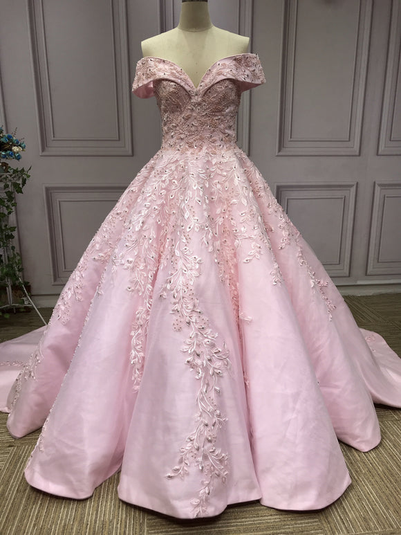 Off shoulder lace appliqués pearls crystals beaded pink ball gown wedding prom dresses - Anna's Couture Dresses