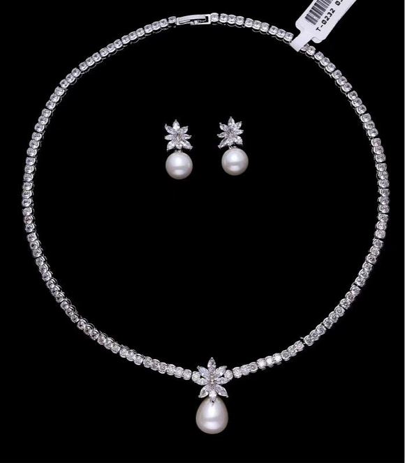 Chic zircon crystals bridal necklace jewelry sets