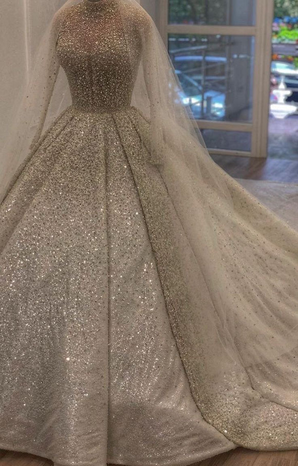 Luxurious sliver gray crystals rhinestones pearls Muslim high neck wedding prom dress
