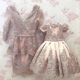 Pink red Lace appliqués mother and daughter dresses