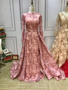 Dusty pink long sleeves sparkling sequins fabric muslim formal graduation middle school homecoming prom dresses