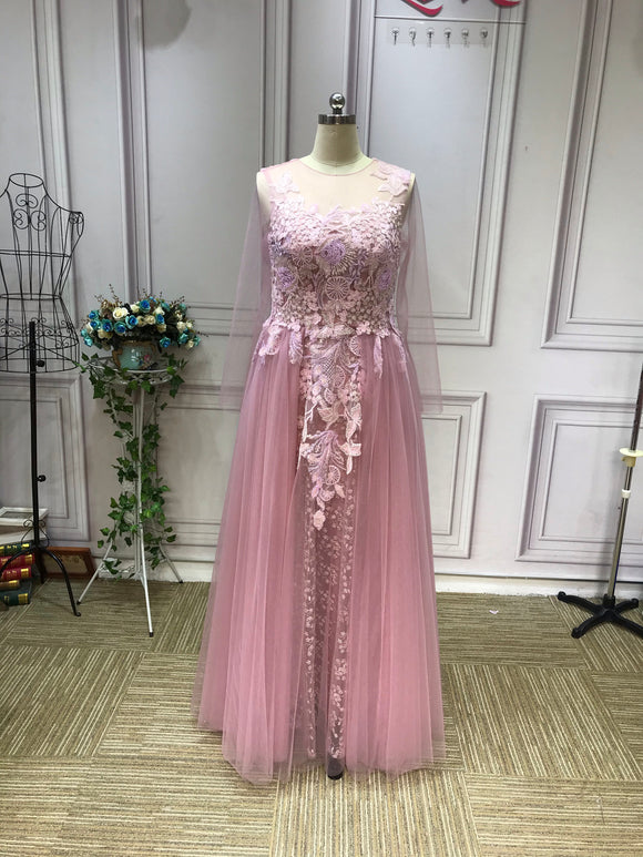 Long sleeves lace appliqués purple dusty pink tulle prom dress 2021