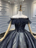Two styles black glitter sparkling ball gown gothic wedding dress 2020