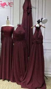 Red burgundy pink chiffon bridesmaids dresses - Anna's Couture Dresses