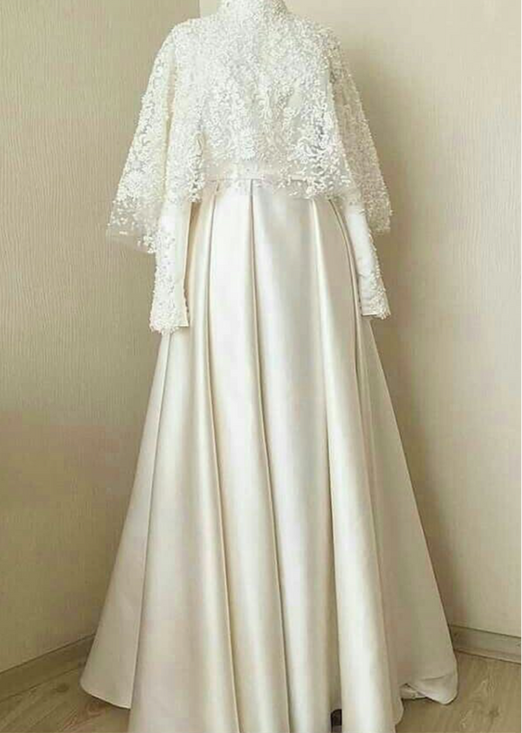 Muslim cape sleeves pearls beaded lace wedding dress
