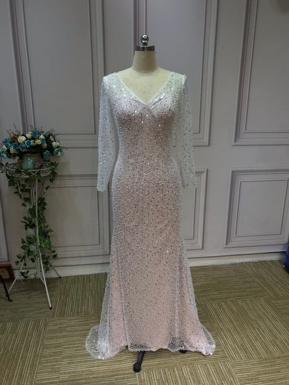 Gorgeous long sleeves heavy beaded sequins pearls dusty pink mermaid wedding dress 2021
