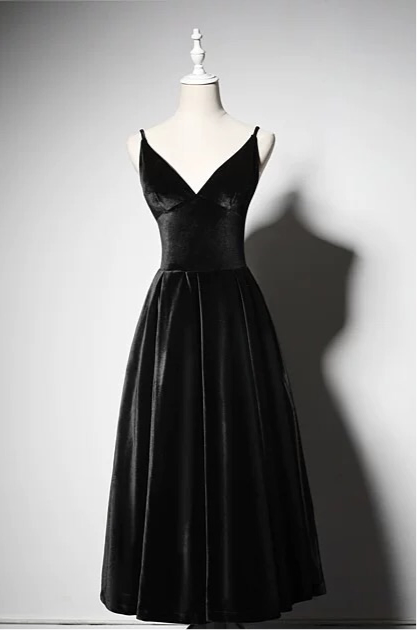 Sexy black velvet tea length prom cocktail dress 2020
