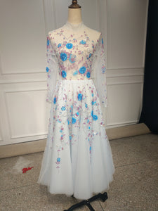 Long sleeves tea length heavy handmade beaded couture prom dress 2018