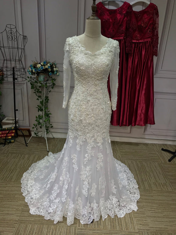 Gorgeous long sleeves alecon lace mermaid wedding dress 2021