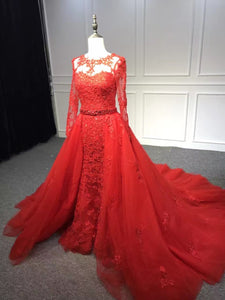 Red crystals beaded long sleeves lace appliqués tulle prom dress two pieces 2021