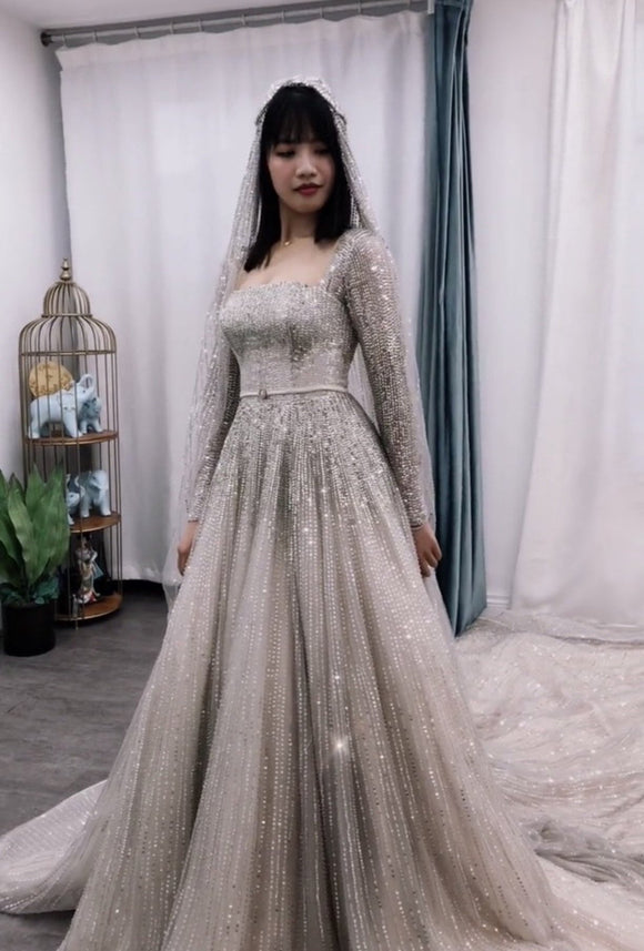 100% handmade heavy beaded sequins and crystals couture sparkling ball gown Muslim wedding dress 2021