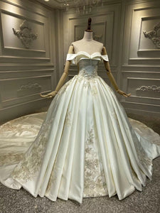 Off shoulder matte satin lace appliqués crystals pearls beaded couture wedding dress 2020