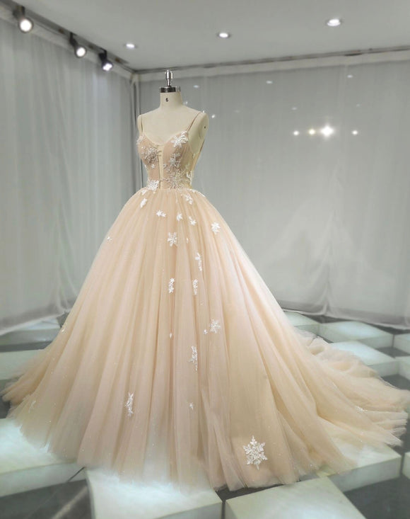 Fairytale stars champagne cream tulle ball gown skirt wedding dress