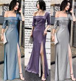 Sparkling fabric one shoulder mermaid slit sexy prom cocktail dress 2020