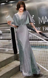 Sparkling fabric cap sleeves mermaid prom cocktail dress 2020