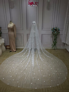 Pearls  and floral beaded cathedral 3 and 5 meters length bride wedding veil