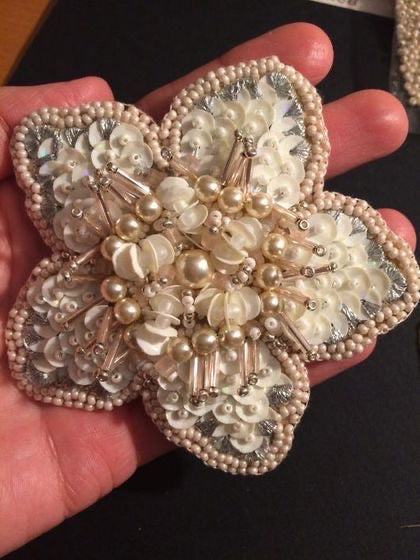 Handmade pearls crystals rhinestones beaded flower