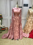 Dusty pink long sleeves sparkling sequins fabric muslim prom dresses