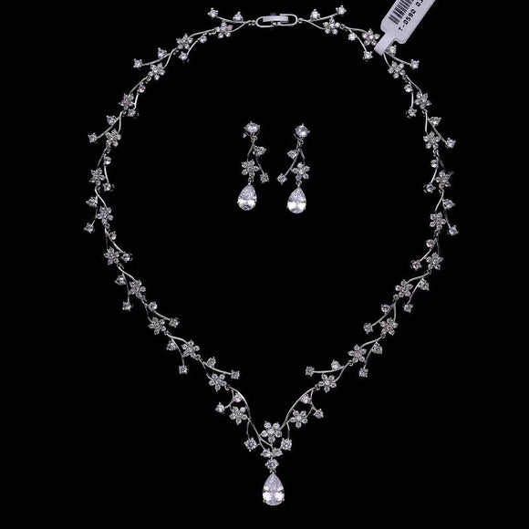 Chic zircon crystals handmade bridal necklace jewelry sets