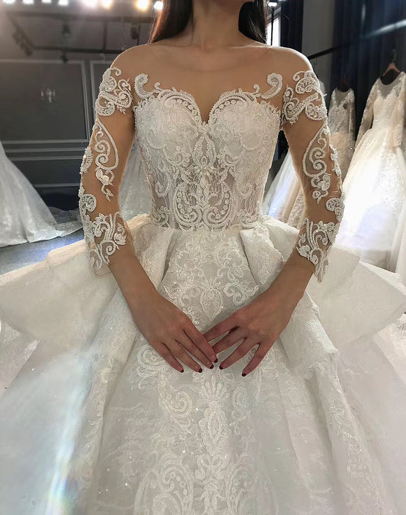 Vintage long sleeves lace custom made wedding dress