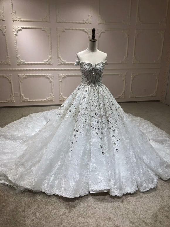 Luxury crystlas pearls beaded ball gown wedding dresses