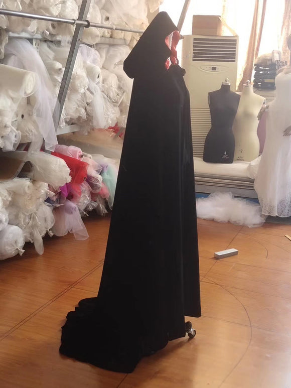 Bride wedding accessories velvet cloak with hood