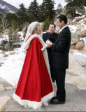 Christmas gift red and white winter wedding accessories red velvet with white fur cloak with hood