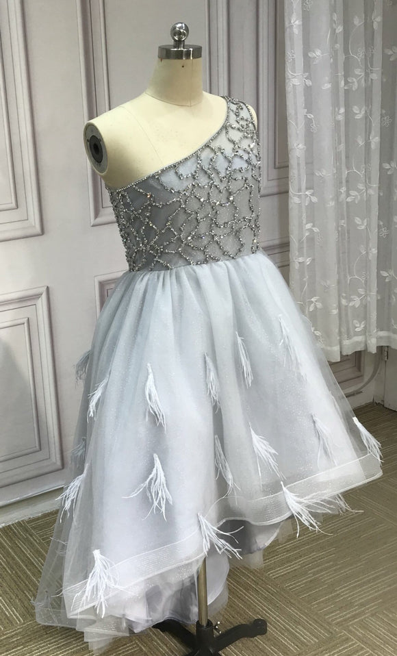 One shoulder gray hi low prom dress