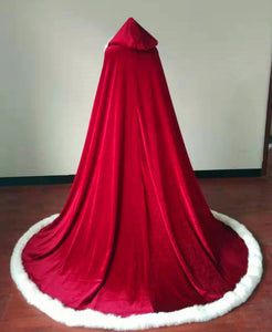 Christmas gift red and white winter wedding accessories matte satin fur cloak with hood