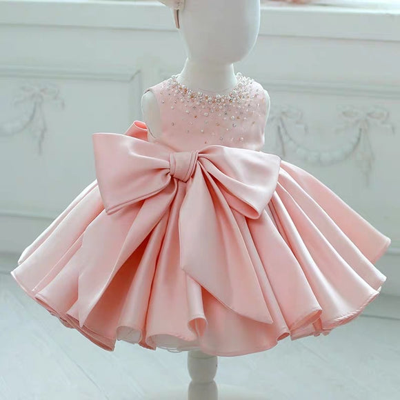 Little baby girl toddlers pink green ivory white tutu party dress - Anna's Couture Dresses
