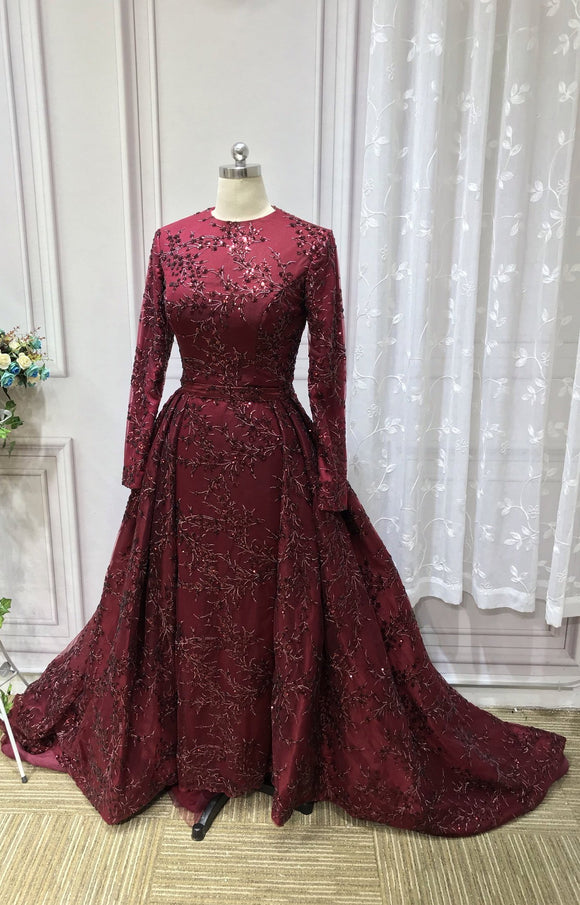 Long sleeves sequins lace burgundy mermaid with removable train emerald green prom dresses 2020