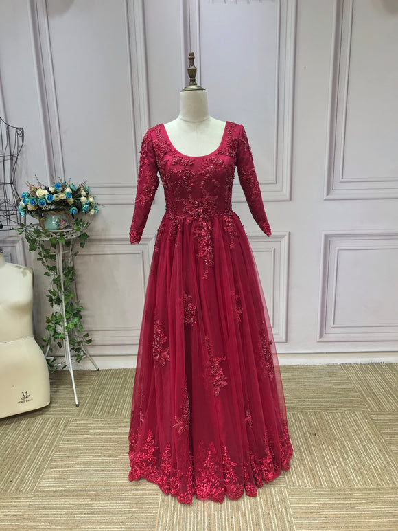 Luxurious heavy beaded burgundy maroon red long sleeves lace Muslim wedding dress 2021
