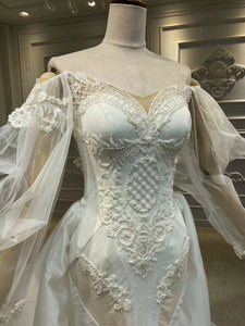 Long sleeves lace pearls beaded mermaid wedding dress