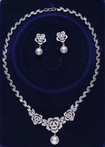 Chic simple crystals handmade bridal necklace jewelry accessories sets