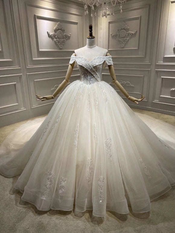 Off shoulder sliver champagne crystals handmade beaded bodice ball gown wedding dress 2020