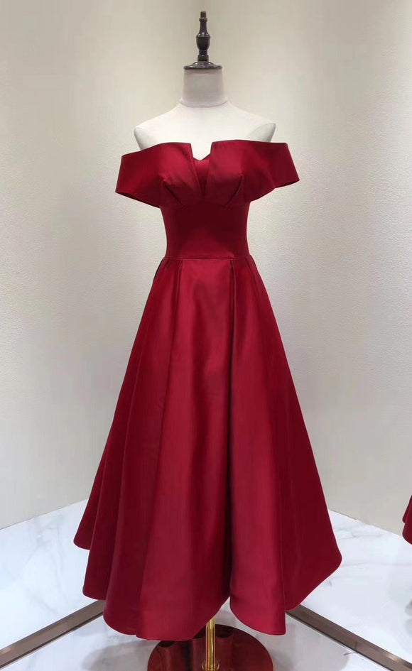 Chic tea length red prom dress 2020