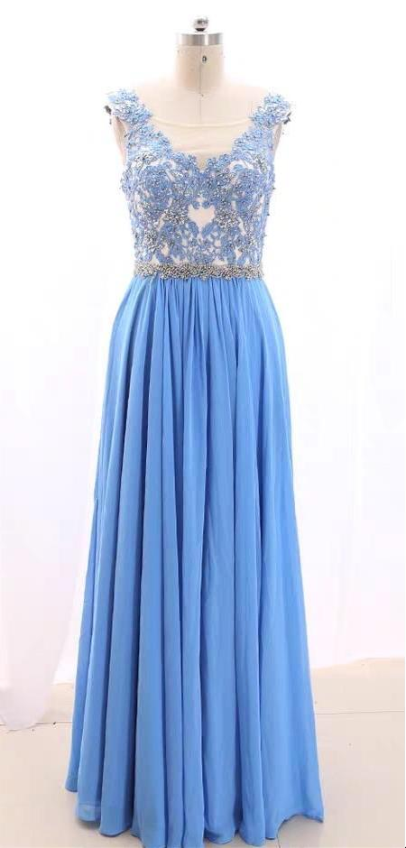 Sky blue chiffon bridesmaid dresses