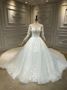Long sleeves lace appliques ivory wedding dress with choker