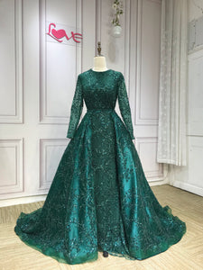 Long sleeves sequins lace mermaid with removable train emerald green prom dresses 2019 - Anna's Couture Dresses