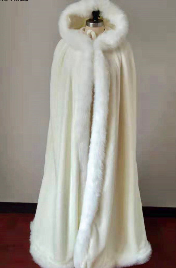 Winter wedding accessories white fur cloak with hood