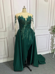 Emerald green slit prom dress