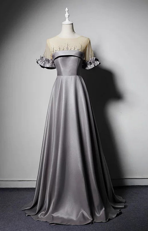 Silver gray short sleeves prom dress