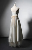 Chic vintage simple off white  satin boho style wedding dress