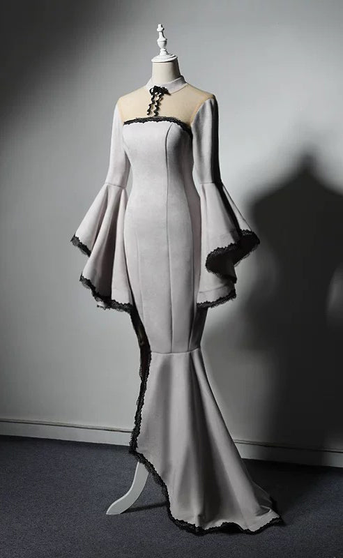 Vintage hepburn style long sleeves velvet off white prom dress 2020