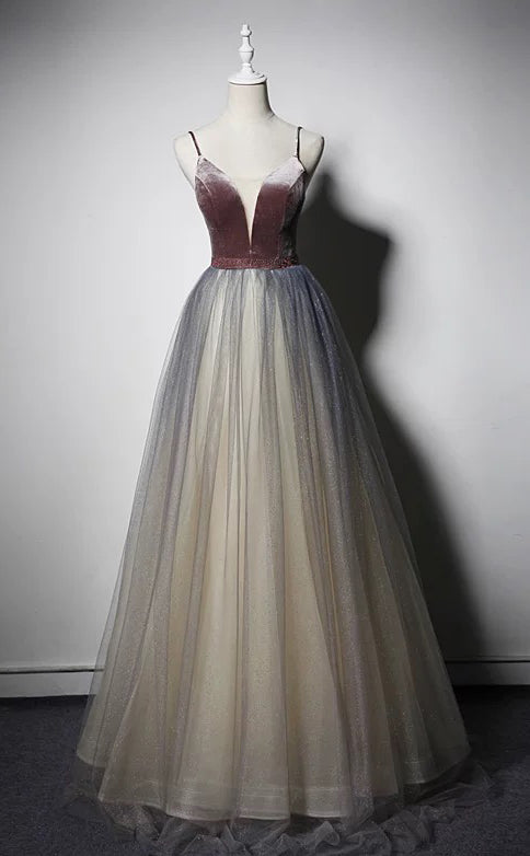 Spaghetti gradient velvet honey color fairytale prom dress