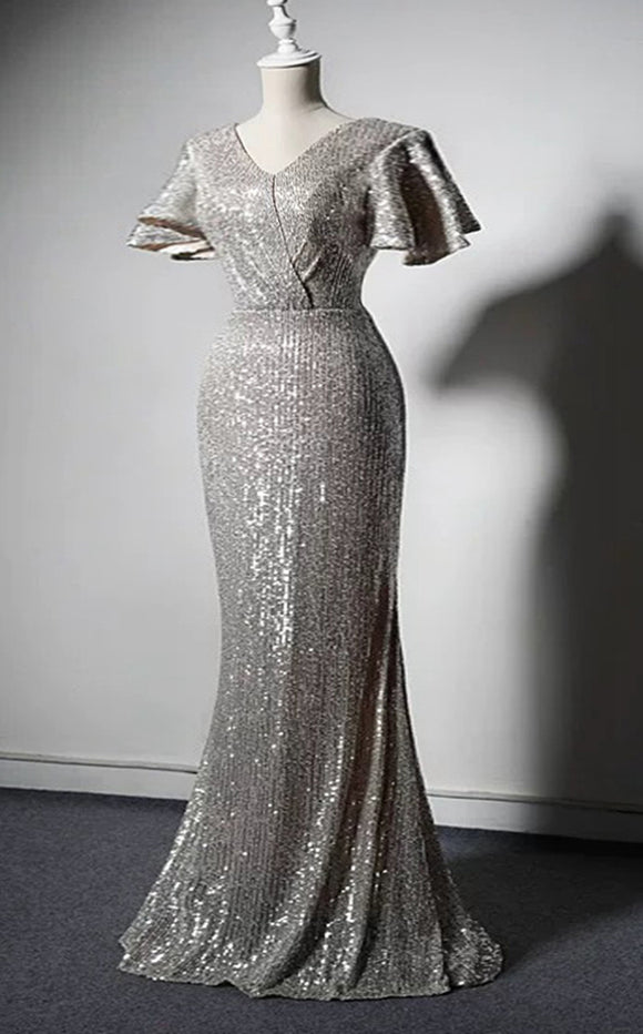 Plus size sexy sparking champagne sliver sequins mermaid prom dress 2020