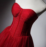 Modern style red puffy skirt prom dress 2020