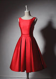 Modern style short length satin red prom dress 2020